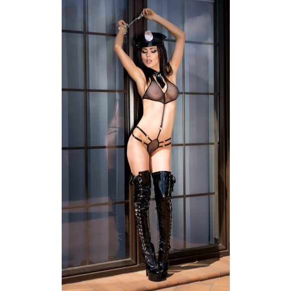 CR 4061  L/XL  Black Police Party Costume Set includes: Body,Hat, and Handcuffs