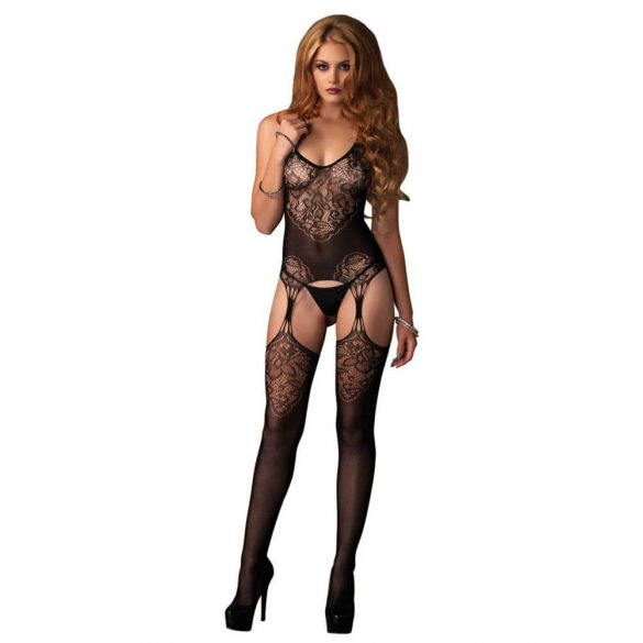 Jacquard Net Bodystocking Black O/S