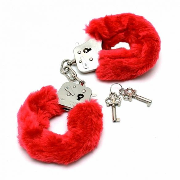Police Handcuffs With Soft Red Fur